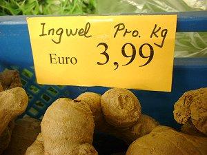 Ingwer-Preissschild