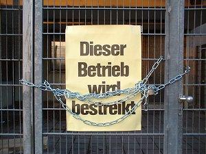 bestreiktes AEG-Werk in Nürnberg