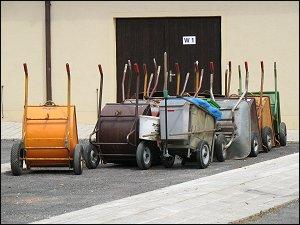 Handwagen in der Fürther Stadtgärtnerei