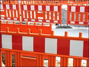 Baustellen-Absperrungen in der Fürther Innenstadt