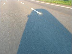 Renngurke-Schatten auf der Autobahn
