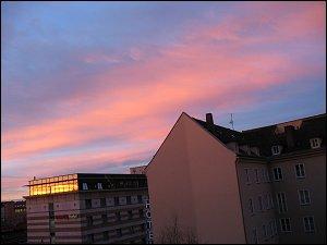 Morgendlicher Schlagseiten-Blick aus meinem Bürofenster