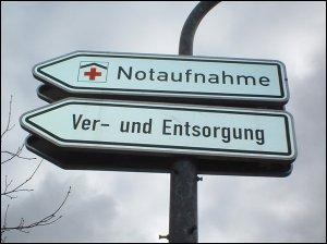Wegweiser vor der Klinik Dr. Erler in Nürnberg