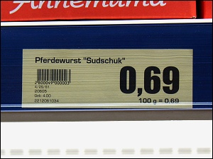Preisschild am Kühlregal