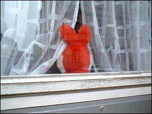 Plüschtier in einem Zimmerfenster