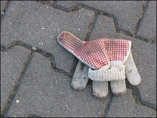 verlorener Arbeits-Handschuh