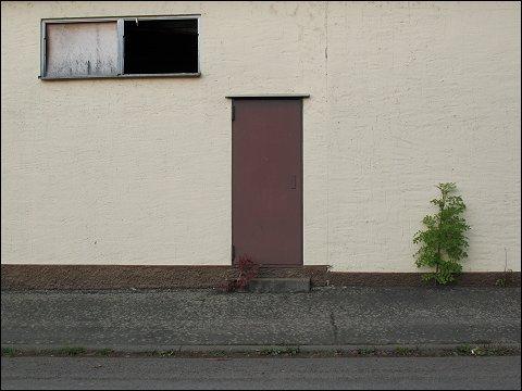 Rückseite eines verfallenden Gewerbebaus in Meisenheim (Glan)