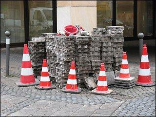 Baustelle am Rande der Nürnberger Fußgängerzone