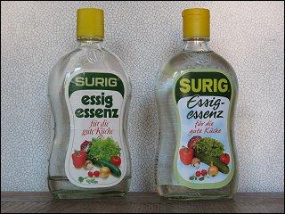 Surig Essig Essenz alt (links) und neu (rechts)
