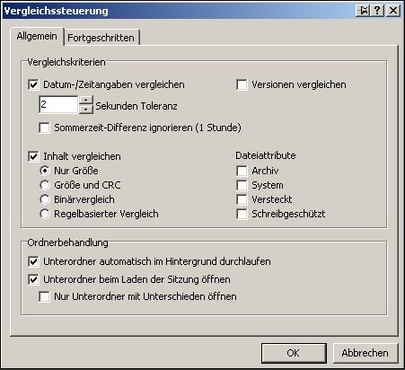 Optionseinstellungen für den Dateienvergleich