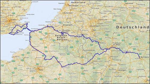 Reiseroute auf der Landkarte