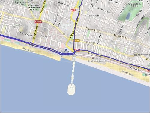 Brighton Pier auf der Land- und Straßenkarte