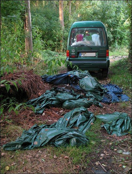 Wilde Müllkippe in einem französischen Wäldchen