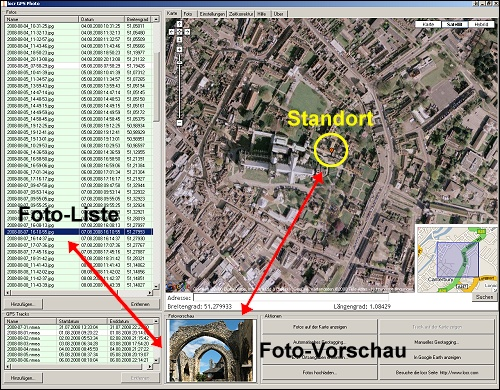 Screenshot von 'locr', die Verortung eines Fotos aus Canterbury zeigend
