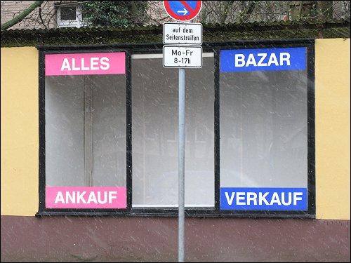 Leeres Schaufenster in der Nürnberger Südstadt
