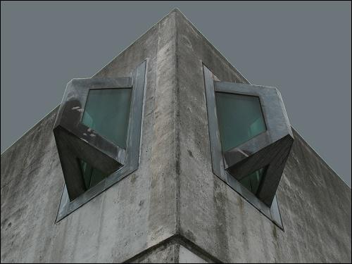 Mauerecke der Nürnberger Justizvollzugsanstalt mit Ausgucks-Erkern