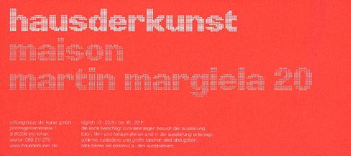 Eintrittskarte zur Ausstellung Maison Martin Margiela im Münchener Haus der Kunst