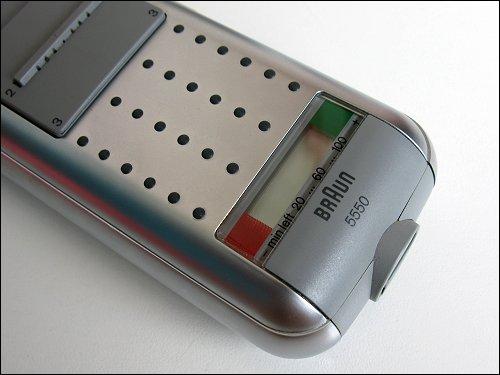 Gummi-Griffnoppen und Ladezustandsanzeige am Braun 5550