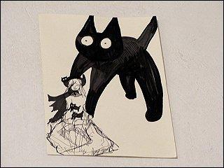 Zeichnung mit Mädchen und schwarzem Vierbeiner