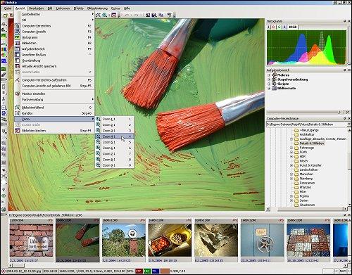 Das FixFoto-Programmfenster mit individuell arrangierten Werkzeugen
