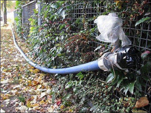 Ende der provisorischen Wasserleitung am Zaun des zonebattler'schen Schrebergartens