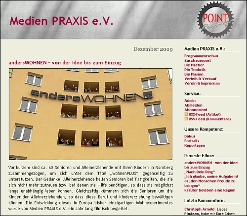 Screenshot von www.medienpraxis.tv