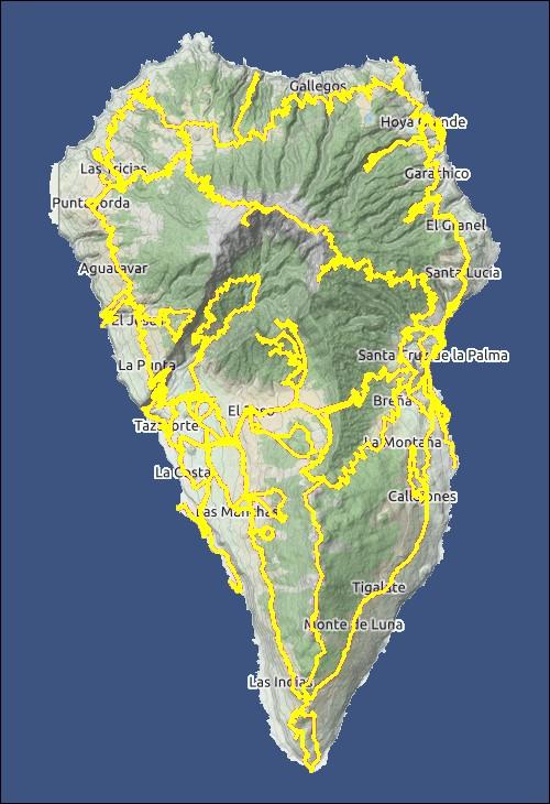 Übersichtskarte von La Palma mit den von uns zurückgelegten Wegen