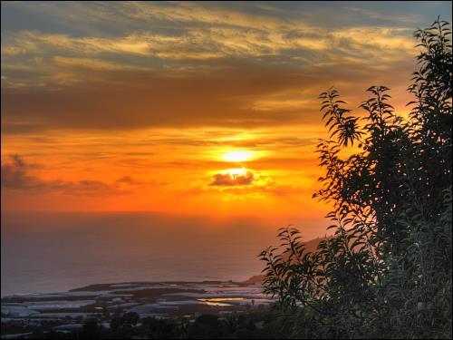 abendlicher Terrassenblick in den Sonnenuntergang