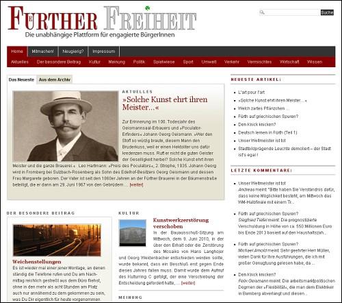 Screenshot von www.fuerther-freiheit.info
