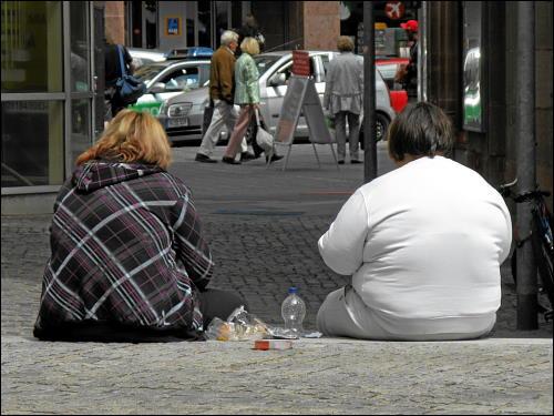 Wuchtbrummen bei ambulanter Nahrungsaufnahme am Rande des Klarissenplatzes zu Nürnberg