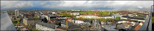 Fürth-Panorama mit schwindendem Regenbogen