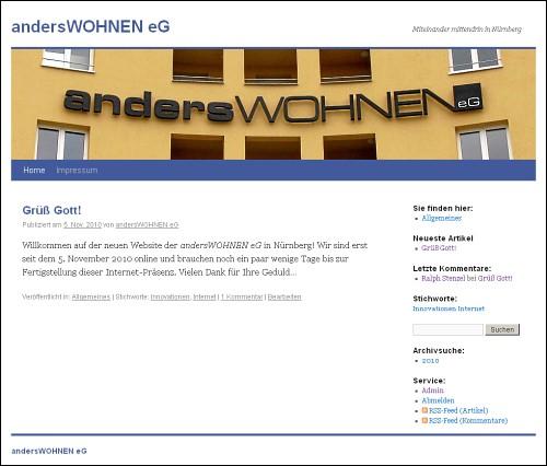 Screenshot von www.anderswohnen-nuernberg.de