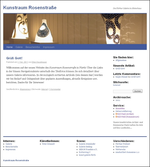 Screenshot von www.kunstraum-rosenstrasse.de