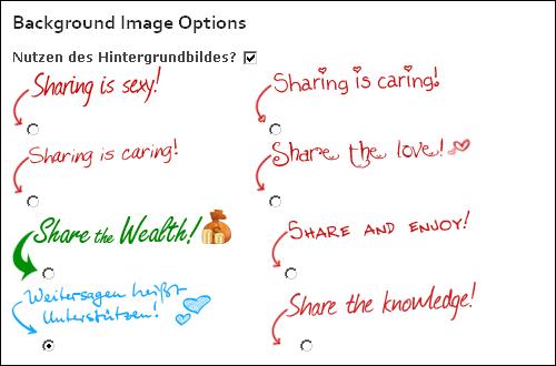 Screenshot aus der SexyBookmarks-Konfigurationsseite