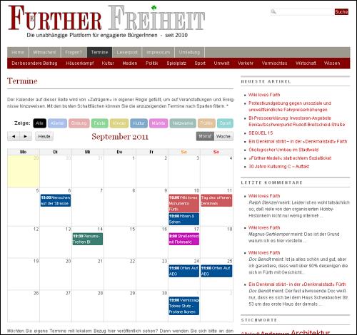 Die Seite mit dem aktuellen Terminkalender