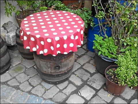 giftiger Fliegenpilz, ein Gartenmöbel vorstellend