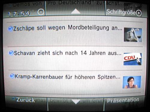 Bildschirmfoto aus dem Nintendo Wii-Nachrichtenkanal