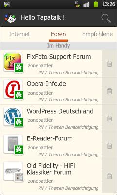 Screenshot der »Tapatalk«-App im Einsatz
