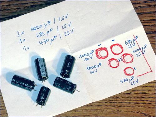 die auszutauschenden Elektrolyt-Kondensatoren