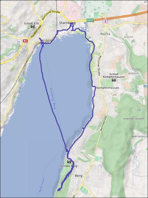 die vom GPS-Tracker aufgezeichnete Marschroute