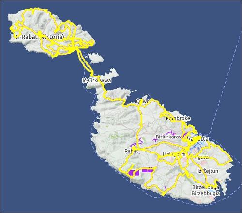 Übersichtskarte von Gozo und Malta mit den von uns zurückgelegten Wegen