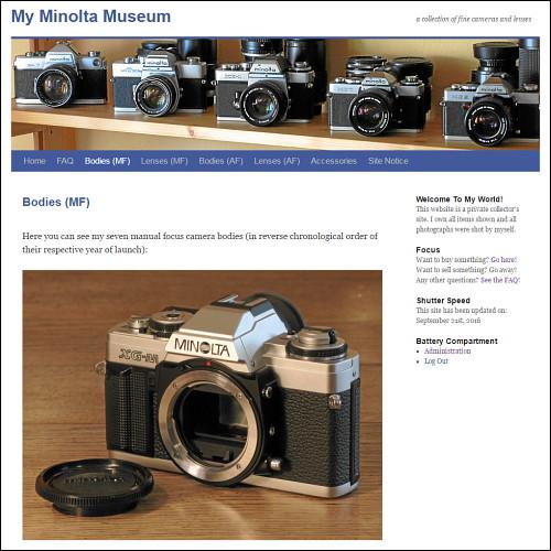 Screenshot von www.my-minolta-museum.info