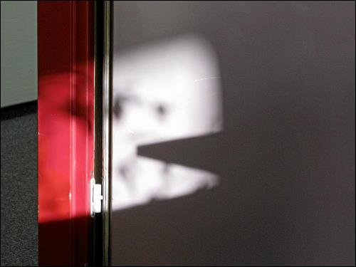 Spiel von Licht und Schatten auf des zonebattler's Bürotür