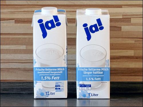 REWE »ja!«-Milch alt (links) und neu (rechts)