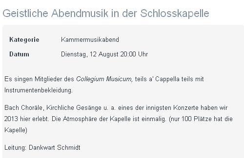 Auszug aus dem diesjährigen Konzertprogramm der Sommerakademie des »Collegium Musicum« in Pommersfelden