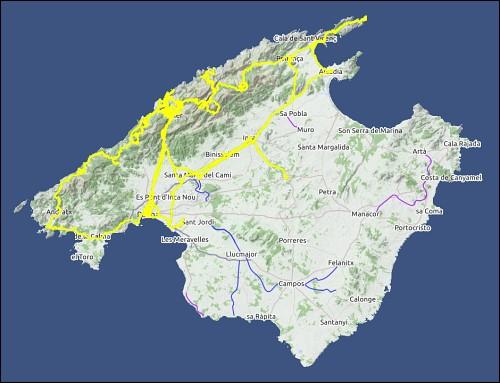 Google Earth-Übersichtskarte von Mallorca mit den eingearbeiteten GPS-Tracks der zurückgelegten Wege