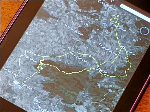 Die in Google Earth visualisierte Route der Steigerwald-Wanderung vom letzten Sonntag