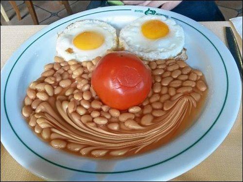 Des zonebattler's besserer Hälfte Frühstücksteller im Urlaubs-Hotel