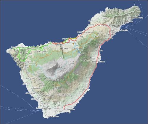 Google Earth-Übersichtskarte von Teneriffa mit den eingearbeiteten GPS-Tracks der zurückgelegten Wege