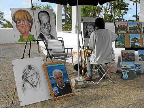 ambulanter Portrait-Maler an der Uferpromenade von Puerto de la Cruz